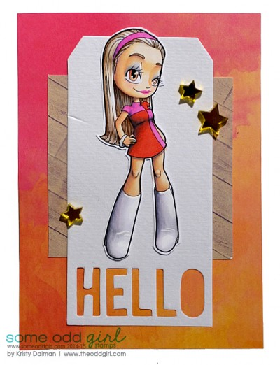 Hello by Kristy Dalman 60s Mod Mae Digi Stamp Some Odd Girl stamps