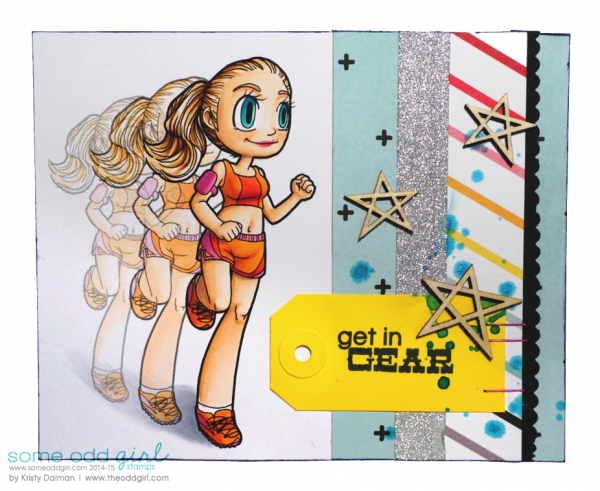 Digital Stamp Editing: Adding Motion tutorial, Get in Gear card by Kristy Dalman using Digi Stamp Jogger Mae from Some Odd Girl stamps