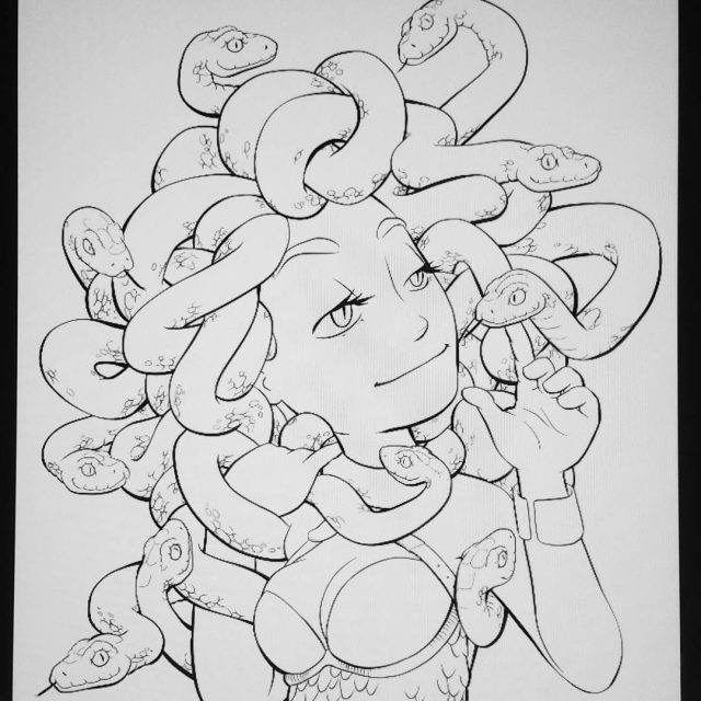 Medusa didnt turn out very spoopy Back to the drawinghellip